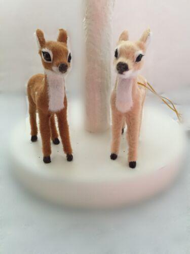 Gisela Graham Christmas Fur Fabric Deer Tree Decoration Brown Cream Woodland
