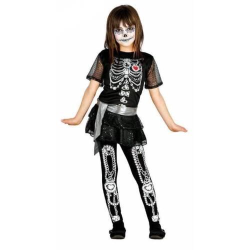 Girls Sugar Skull Skeleton Halloween Fancy Dress Kids Costume