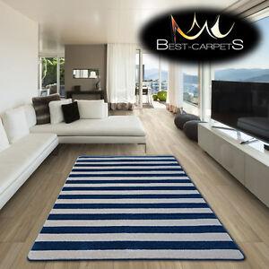 Details zu AMAZING THICK MODERN RUGS SKETCH Striped BLUE CREAM F758 LARGE  SIZE BEST-CARPETS