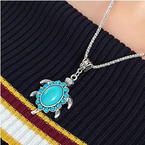 Women-Vintage-Rhinestone-Turquoise-Turtle-Charm-Pendant-Chain-Necklace-Boho