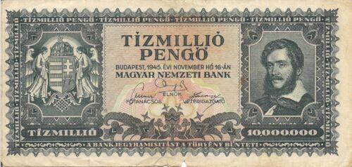 Hungary P123 1945 VG+ 10 Million Pengo  Kossuth Lajos flying pigeon