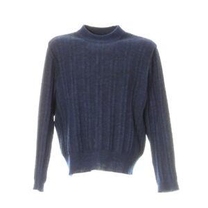 Vintage-Strickpullover-Gr-M-Sweater-Sweatshirt-Langarm-Blau-Rundhals