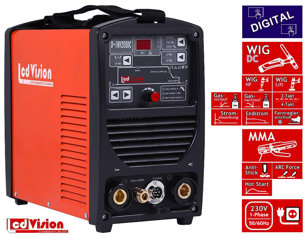 D-INV-200 WIG TIG Inverter Schweißgerät Digital DC MMA HF/Lift 5-200A 230V IGBT