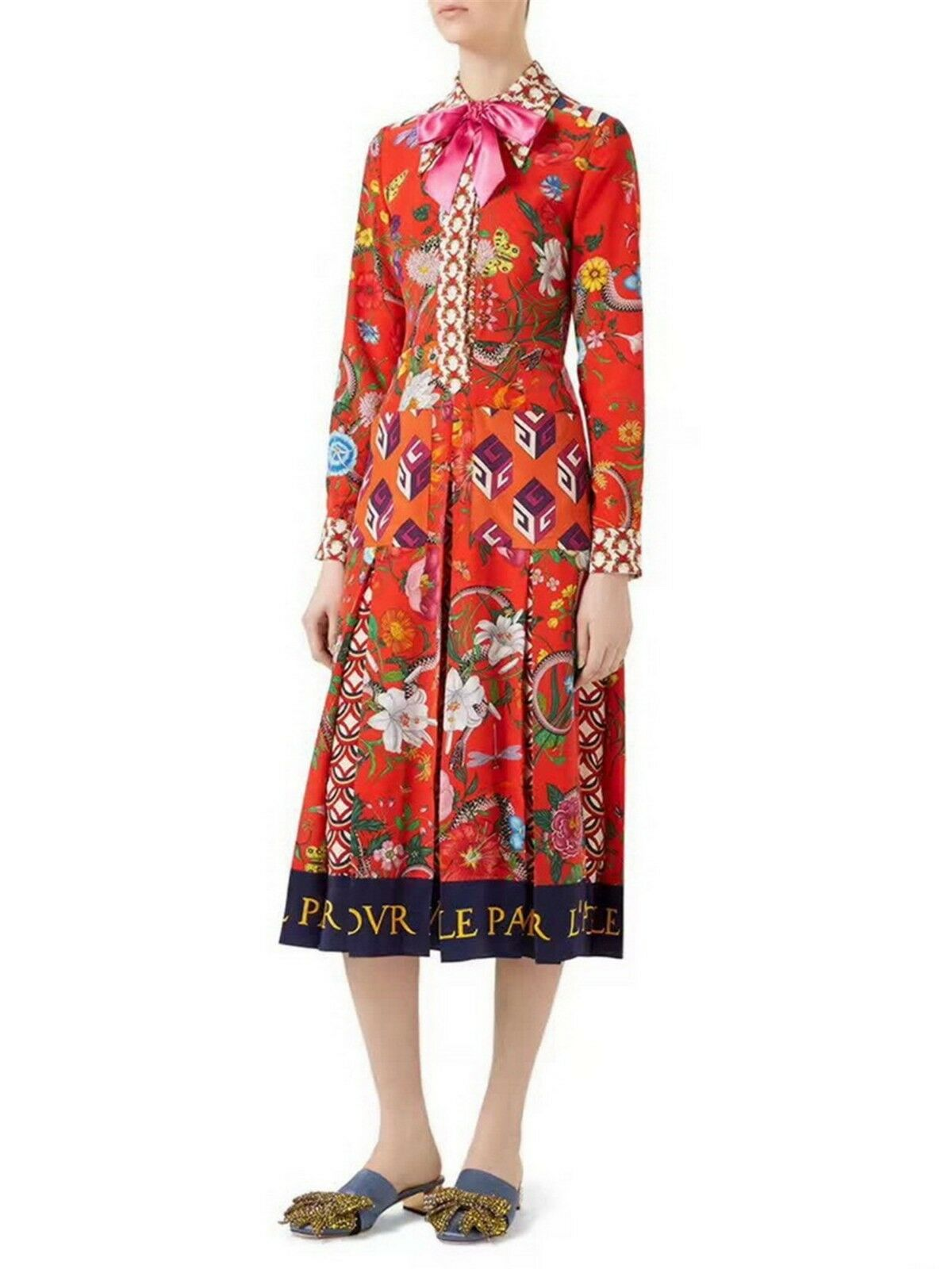 Hot 2017 Runway High-End Fashion Brand  Fine Printing Long Party Dress Size S-XL