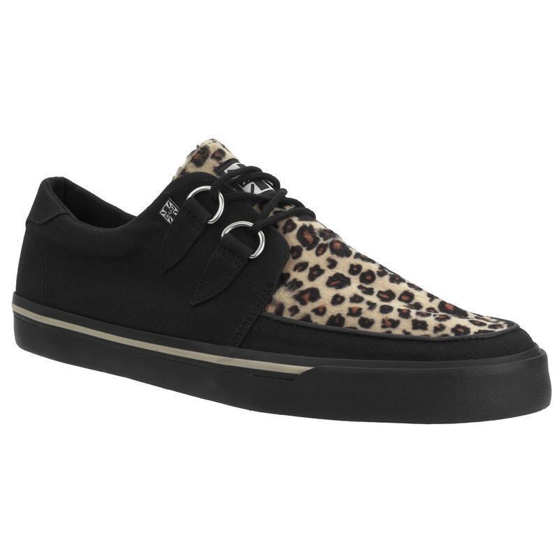 T.U.K A9181 VLK D Ring Creeper Sneaker Black Leopard Canvas
