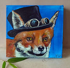 Topper Fox Original Acrylic Painting on Canvas Retro Art Gothic Steampunk Animal