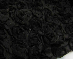 Image Is Loading 3D Chiffon Rosette Bridal Lace Fabric Black 48