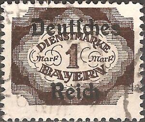 USED-1920-Bavaria-GERMANY-1-Mk-STAMP-Numeral-BAYERN-Deutsches-Reich-OVERPRINT