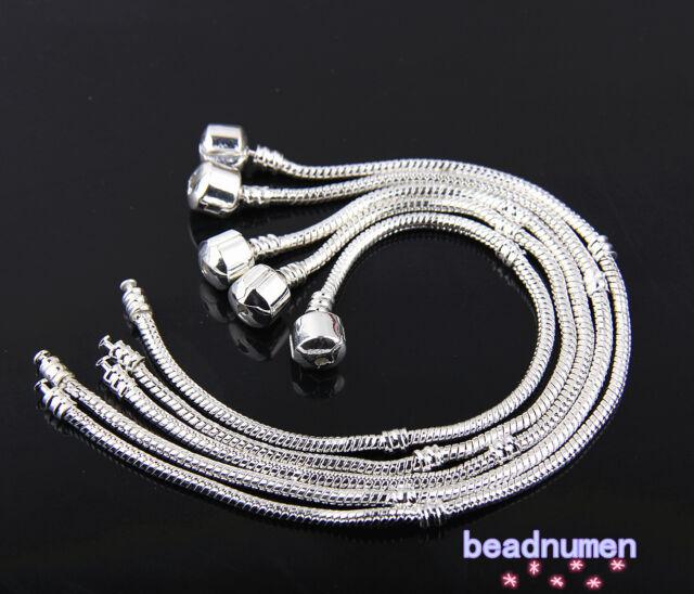 1/10pcs Snake Chain Silver /P Charm Bracelets Fit European Beads