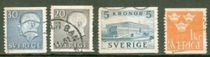 LOT-4-TIMBRES-OBLITERES-ANCIENS-SUEDE-1960-039-s
