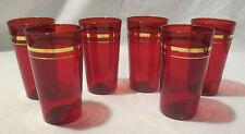 "Set 6 ruby red water glasses gold trim 4.75"" vintage tumblers  depression"