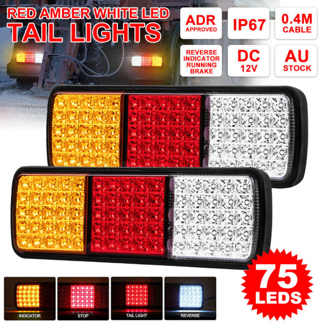 2X 75 LED Tail Lights Trailer Truck Caravan UTE 12V Reverse Stop Brake Indicator