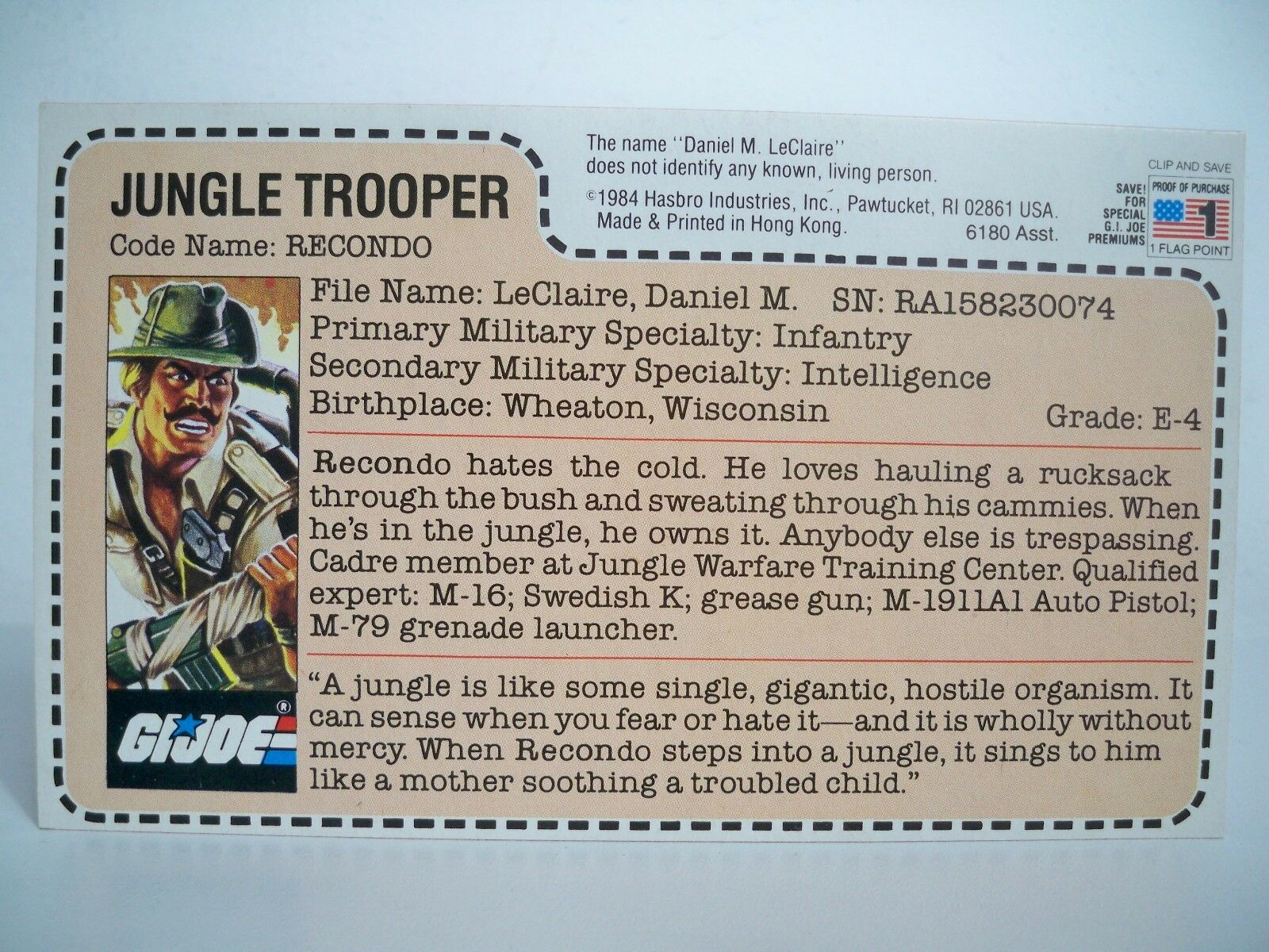 K1805261 RECONDO FILECARD UNCUT ASST 6180 rot BACK GI JOE 1985 MAILAWAY VINTAGE