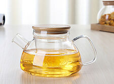 600ml blooming tea teapot clear borosilicate  glass kettle infuser +bamboo lid