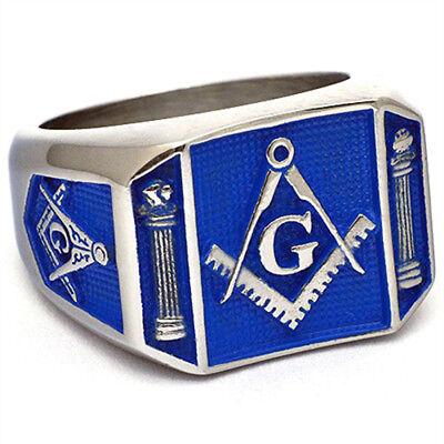 Mens Masonic Ring Square G Master Mason Freemason Blue Background Size 9-15