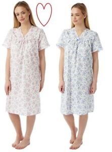 Ladies-Incontinence-Nightdress-Open-Back-Poly-Cotton-Floral-Nightie-sizes-12-26
