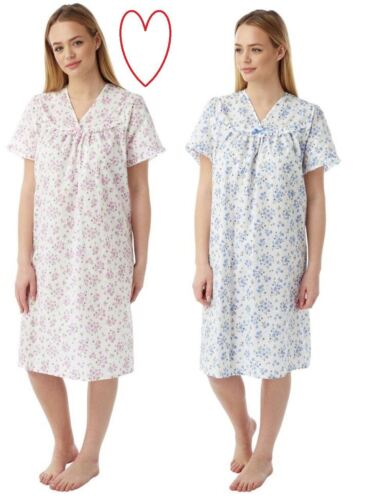 Ladies Incontinence Nightdress Open Back Poly Cotton Floral Nightie sizes 12-26
