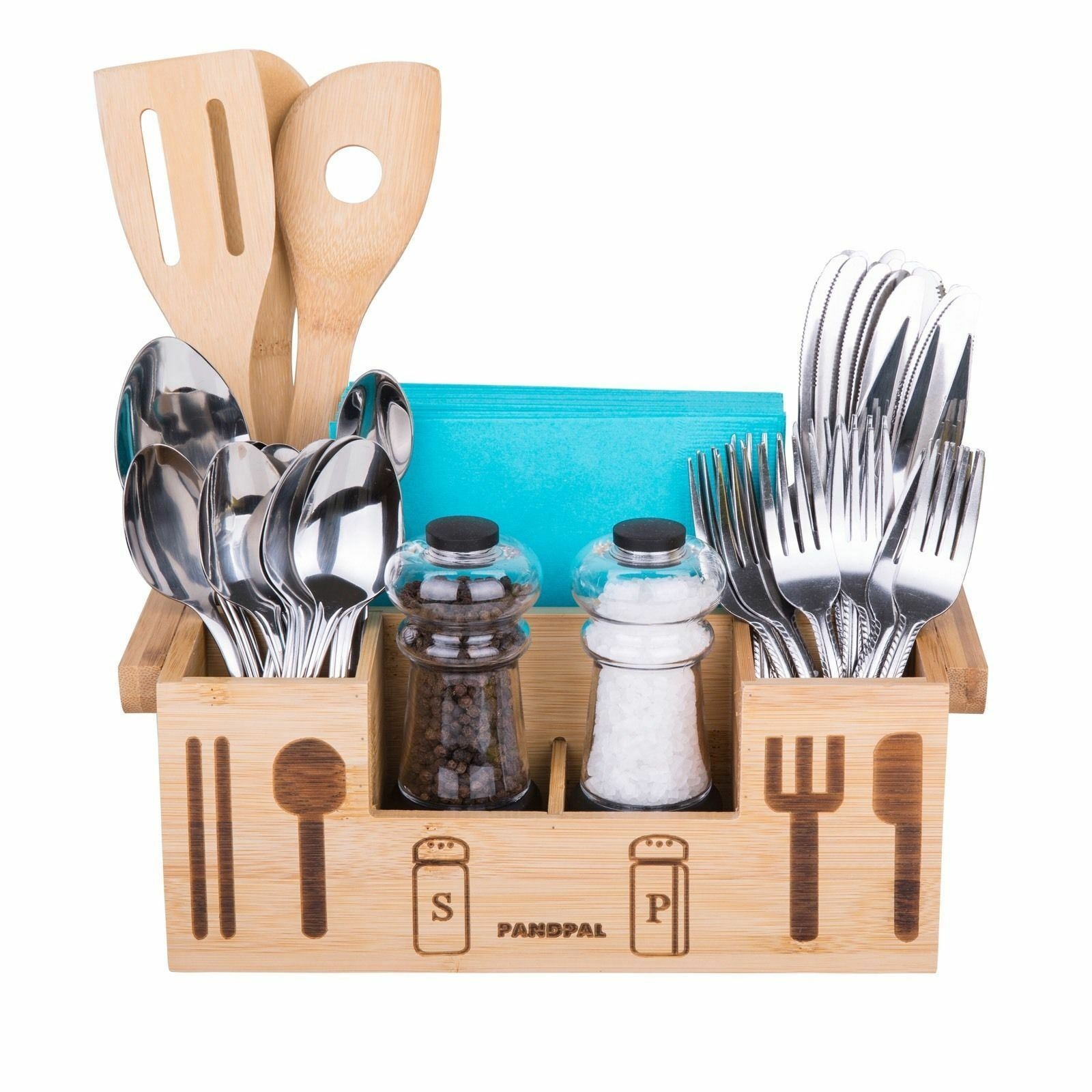 Bamboo Wooden Utensil Caddy Flatware Holder for Spoons Knives Forks ...