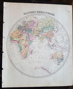 Details about Antique Map - EASTERN HEMISPHERE - Warner & Beers/Union Atlas  Co. 1876