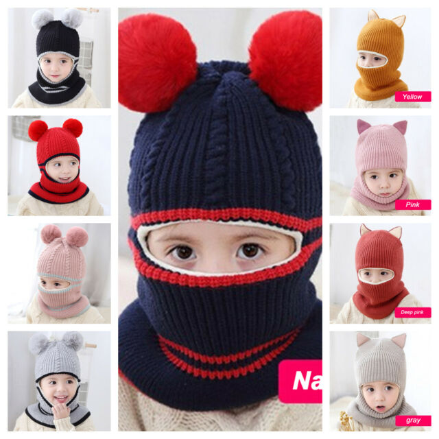 Baby Girl Boys Knitted Plush Warm Hats Children Winter Cute Ears Caps Scarf LOT