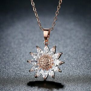 Chic-Women-Sun-Flower-Zircon-Pendant-Necklace-Clavicle-Chain-Lady-Jewelry-Gifts
