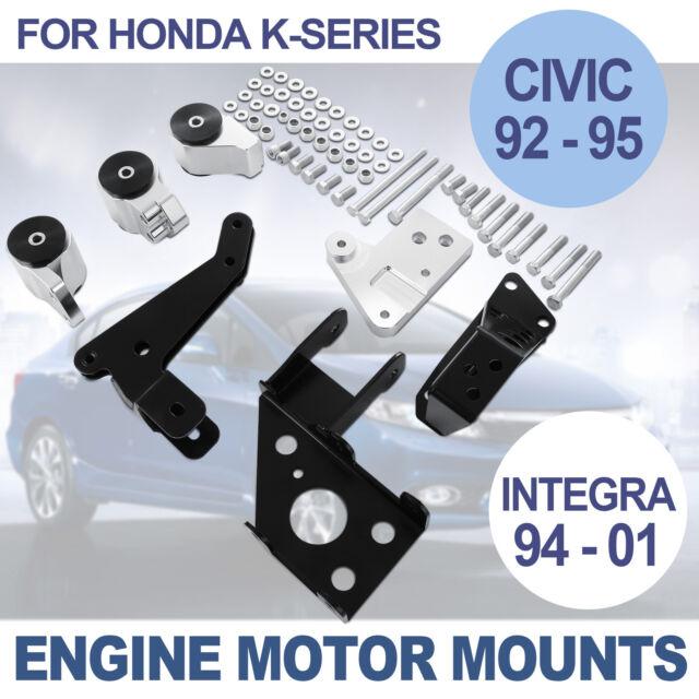 K Series Swap Aluminum Engine Motor Mount Kit Durable 92-95 Honda Civic K20 K24