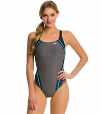 New NWT Women 's SPEEDO Quantum Splice Swimsuit Hydro Bra Gray Fitness $78 sz 12