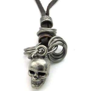 100% Echt Leder Vintage Gothic Wikinger Halskette Braun Lederband Schädel Skull