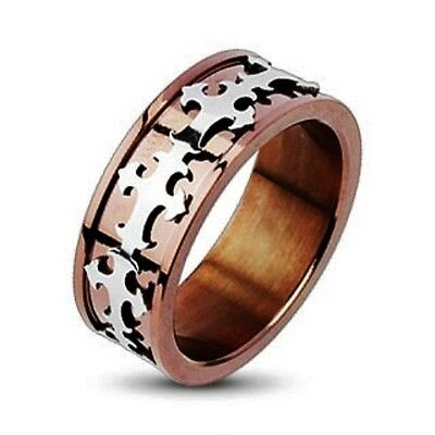 New 316L Stainless Steel Copper IP Royal Cross Men's Band Ring,Size 9 (0008Ma9)