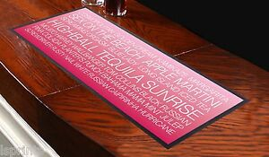 Cocktail-Bar-Towel-Runner-Pub-Mat-Beer-Cocktails-Party-Pink-Bus-Blind-White-Text
