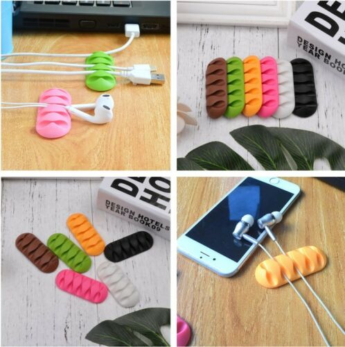 New  Silicone 5-clip Earphone Cable Winder Wire Organizer Cord Fixing Holder