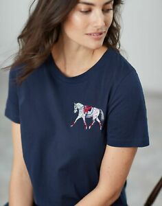 Joules-Womens-Official-Burghley-Horse-Trials-Embroidered-T-Shirt-FRENCH-NAVY