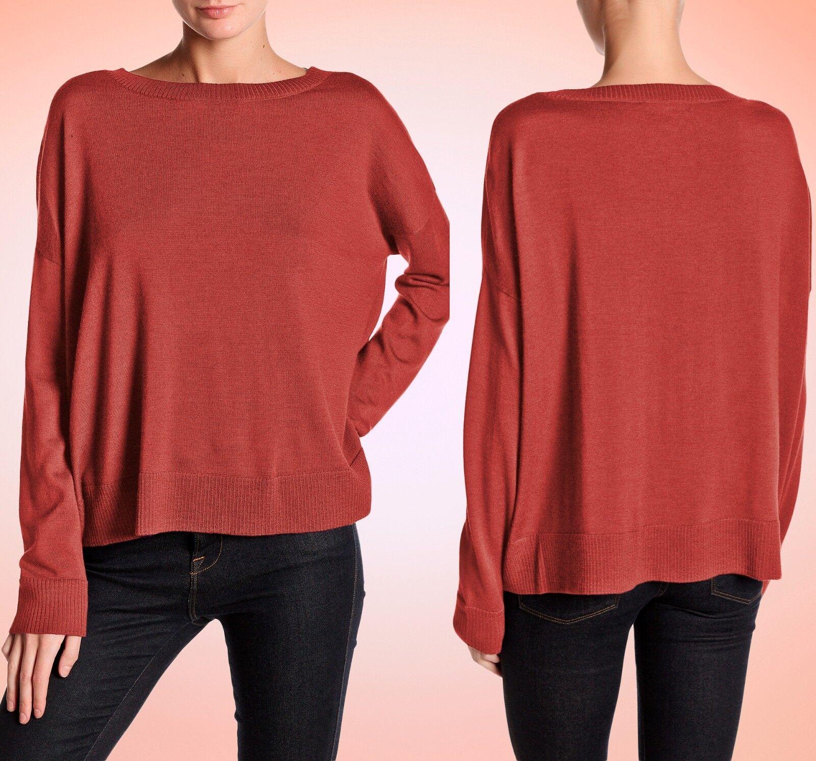 178 Eileen Fisher Merino Jersey Red Saffron Bateau Boxy Sweater Top L