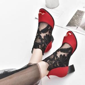 WOmen-039-s-Mesh-Lace-OPen-Toe-HIgh-Block-heels-Sandals-Pumps-Heels-Shoes-US-4-5-10