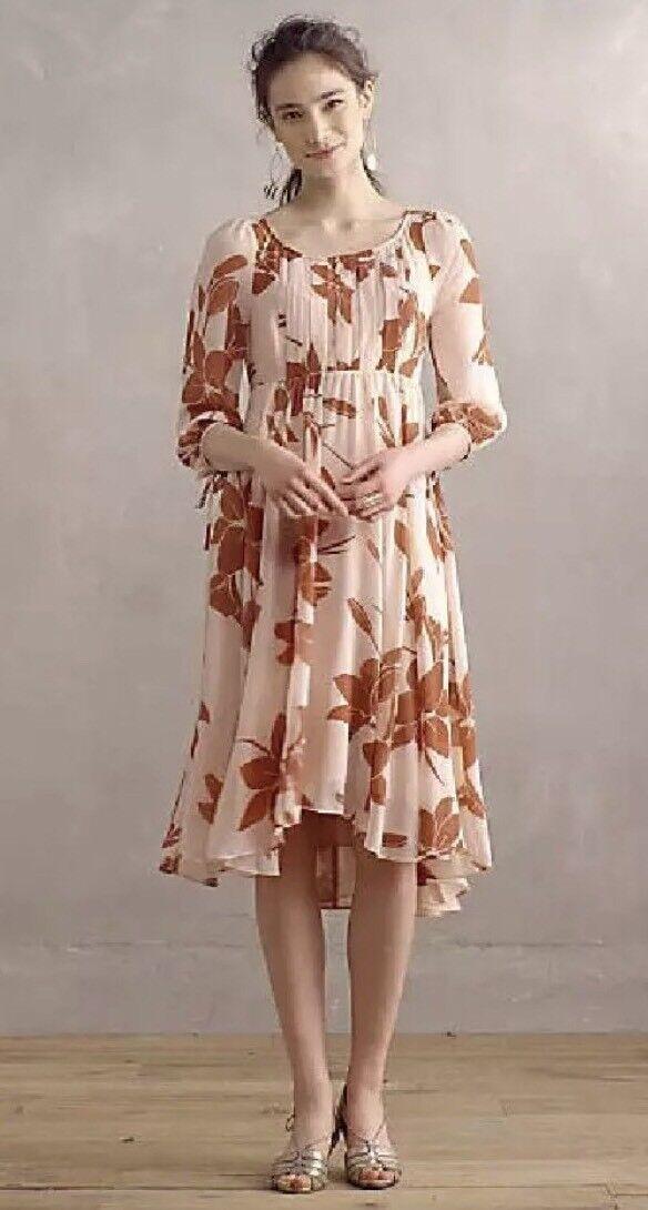 ANTHROPOLOGIE Laelia MIDI Dress BY Maeve Rosa Rosa Größe 4  New NWT High LOW