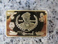 24k gold plated German Erwin Rommel nazi bar in plastic holder WW2 BU