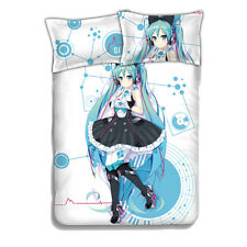 Bed Sheets Anime VOCALOID Hatsune Miku Coverlets with 2pcs pillow case cover