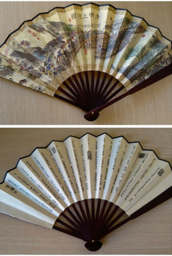 Nice Chinese Traditional Handheld Fold Fabric Fan with Qingming Festival