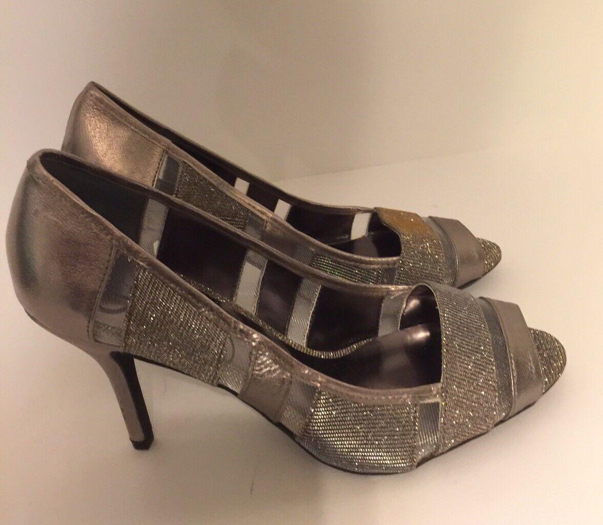 Adrianna Papell Flair Metallic Mesh & Satin Crystal-Embellished Peep Toe Pump 8