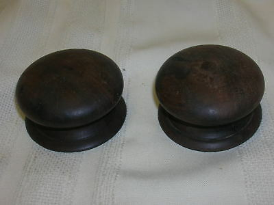 "Pair Antique Wooden Drawer Knobs Pulls Walnut 2 1/4"" Lathe Turned Original"