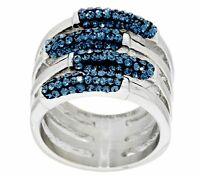 Qvc Steel By Design Multi Row Blue Crystal Ring Sizes 5 Thru 10