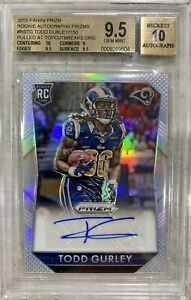 2015 PRIZM TODD GURLEY ROOKIE SILVER AUTO BGS 9.5 GEM MINT LA RAMS REFRACTOR