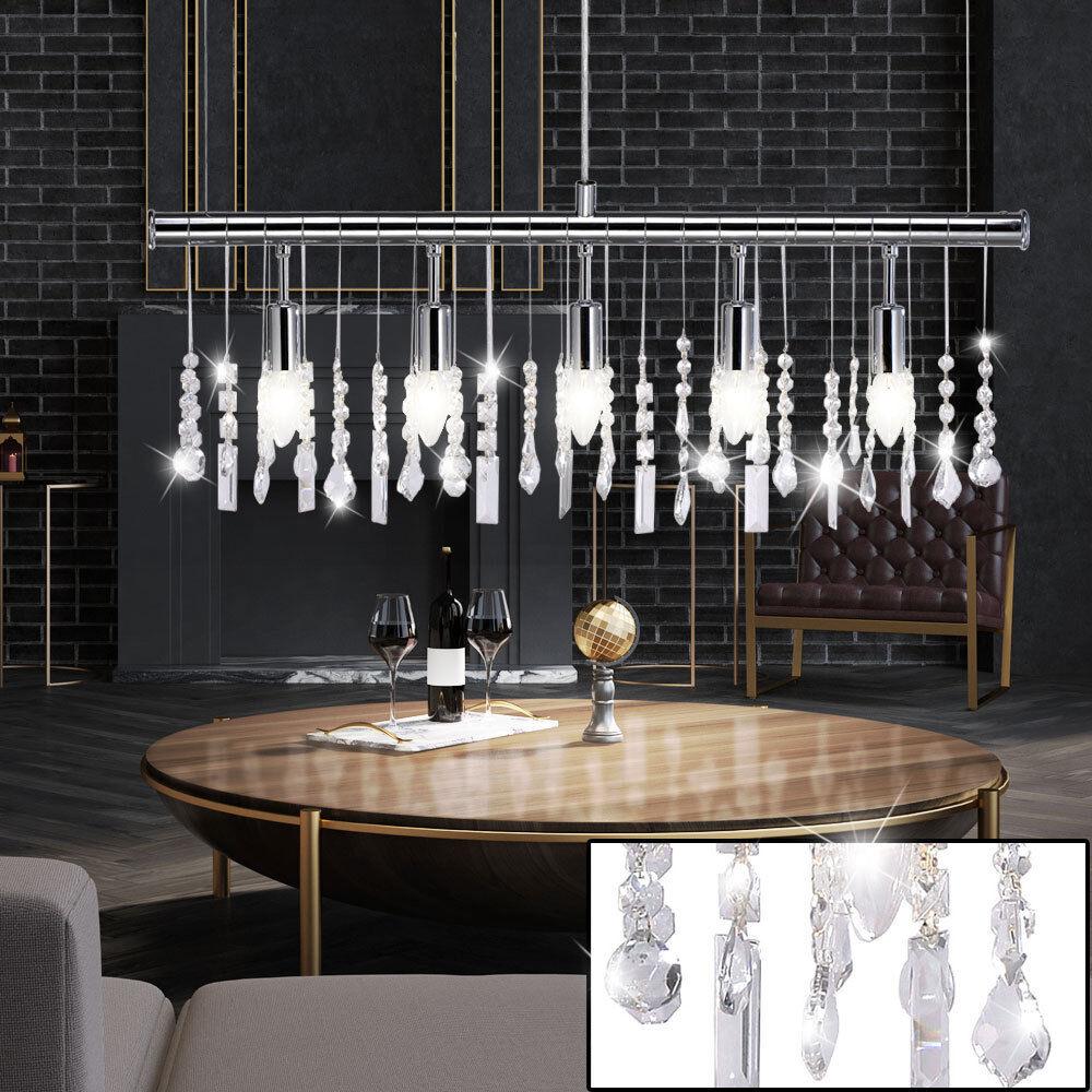 Luxe suspension lampe en cristal cristal lustre salon pendentif lampe chrome