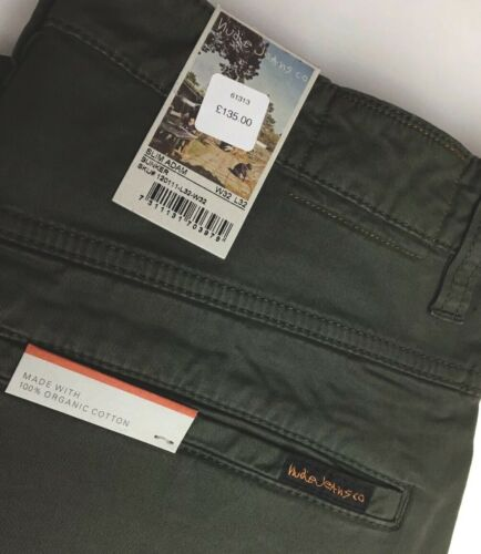 "Nudie /'Slim Adam-Bunker /""Vert Kaki Pantalon Chino Jeans Pantalon RRP £ 135.00"