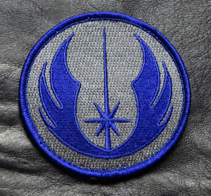 BLUE STAR WARS JEDI ORDER LOGO MORALE 3 INCH ROUND IRON ON PATCH