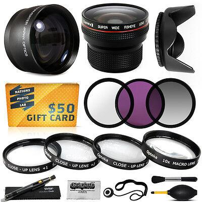 15PC Macro + Fisheye + Telephoto + Filters for Sony DCR-SX65 DCR-SX85 HDR-CX7