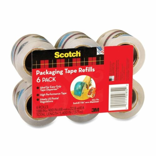6 Refill Rolls Scotch 3M Easy-Grip PACKING TAPE Sealing Shipping Clear Packing