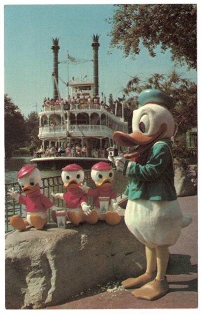 Donald Duck Huey Dewey Louis Mark Twain Disneyland Ca Vintage Postcard
