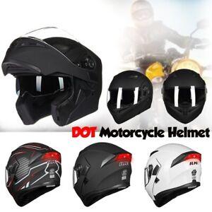ILM 10 Colors Motorcycle Dual Visor Flip up Modular Full Face Helmet DOT XL, Matte Black
