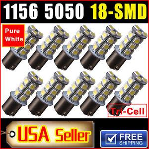10x-6000K-White-1156-BA15S-18SMD-5050-LED-Turn-Signal-Backup-Reverse-Light-Bulbs